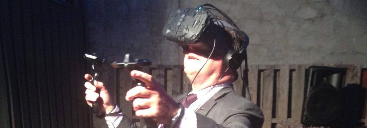 Man in VR HMD at Playup Perth